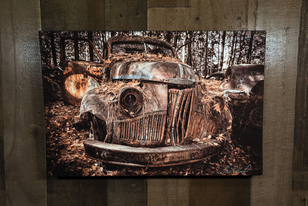 Old Car Picture 1947 Studebaker Pickup Truck Wall Hanging Art Photograph Print on Canvas Classic Car Photo