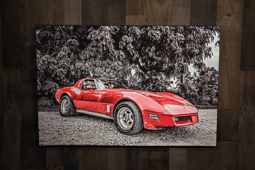 Chevrolet 1981 Red Corvette Art Photograph Print on Canvas