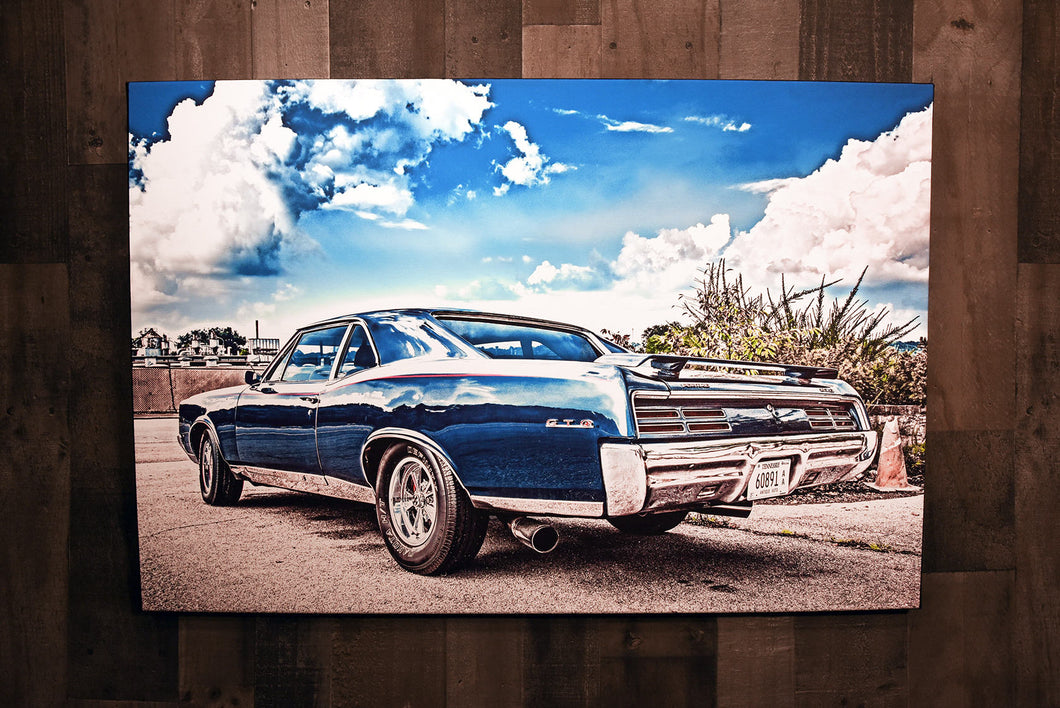 Classic Car Picture 1967 Blue Pontiac GTO Wall Hanging Art Photograph Print on Canvas