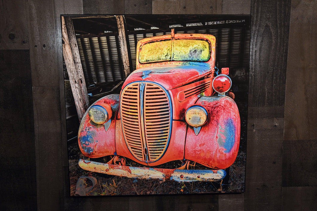 Classic Car Picture 1938 Ford Pickup Truck Wall Hanging Art Photograph Print on Canvas Old Car Photo