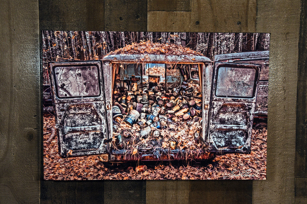 Old Car Picture Cargo Van Wall Hanging Art Photograph Print on Canvas
