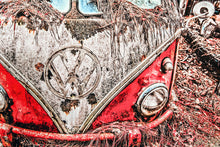 VW Volkswagen Red Bus Art Photograph Print on Canvas