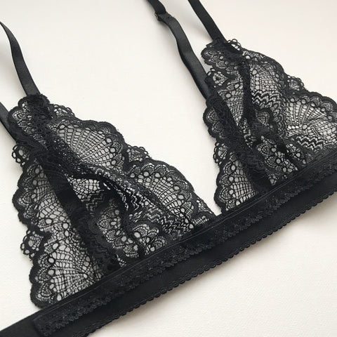 Black Lace Bralette- Plain Band