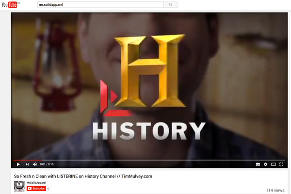 Tim Mulvey in Listerine Commercial on History Channel