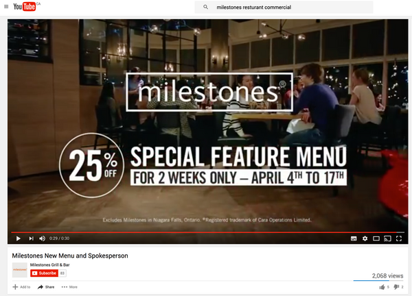 Tim Mulvey in  Milestone's Restaurant‎ Commercial