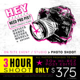 Event / Studio Photo Shoot > 3 HOUR
