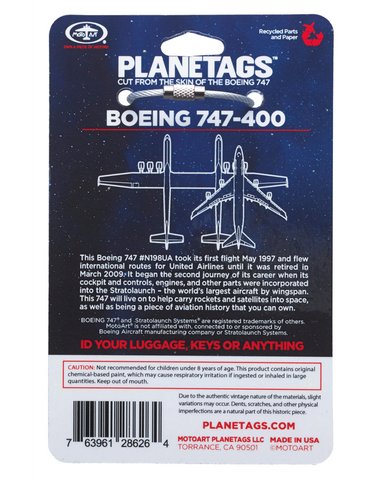 Boeing 747-400 Series United Airlines Plane Tag