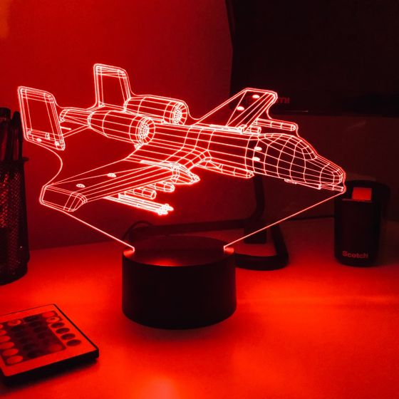 A-10 Warthog 3D Aircraft Color Changing Lamp