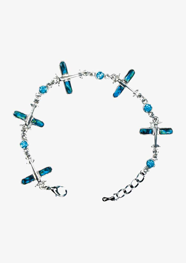 Airplane Blue Paua Shell Bracelet