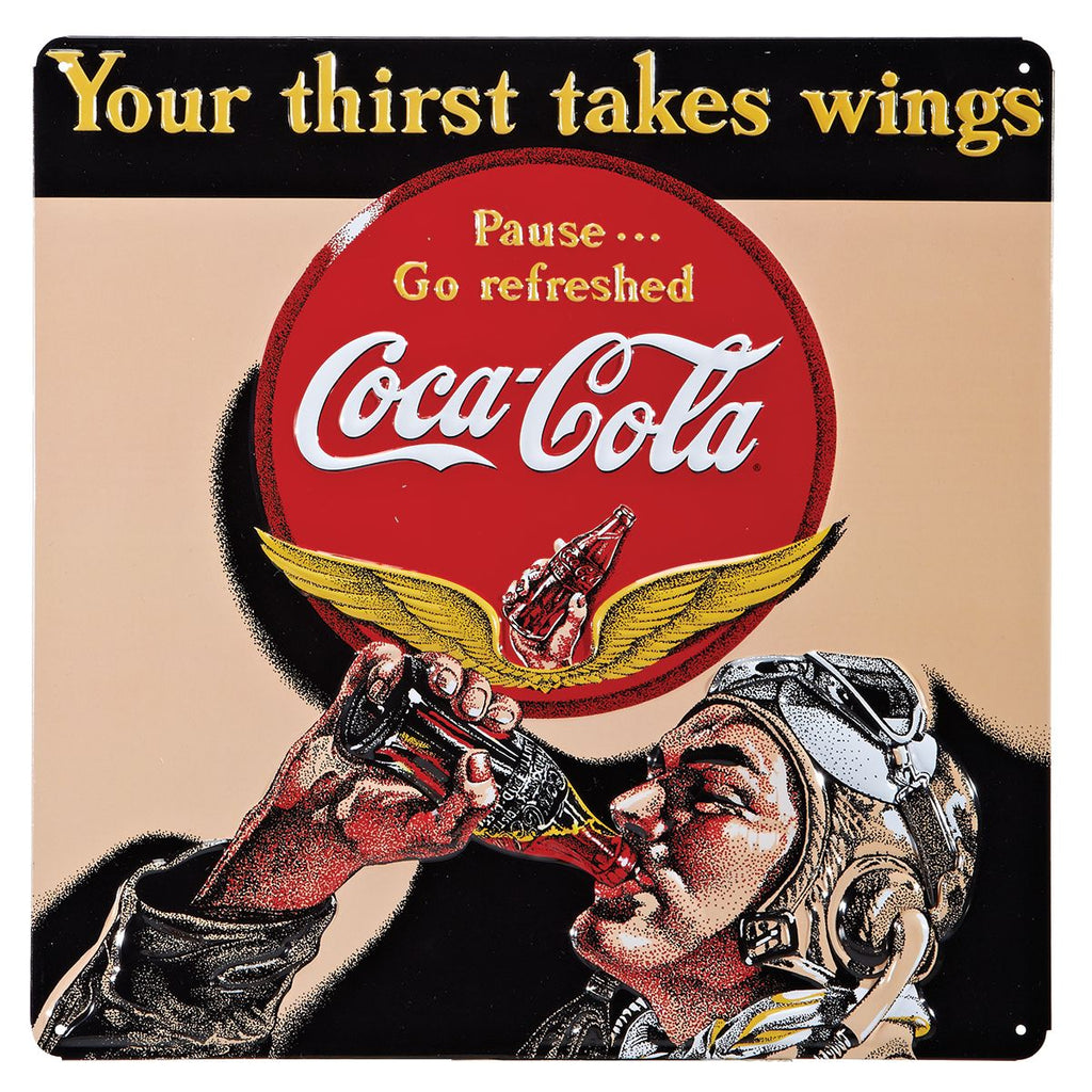 Coca-Cola Aviator Embossed Tin Sign