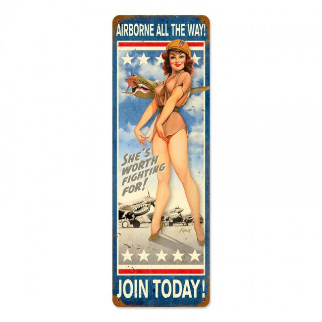 Airborne All The Way Tin Sign