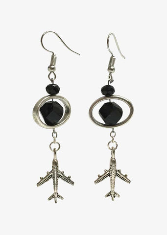 Bead Frame Airplane Earrings
