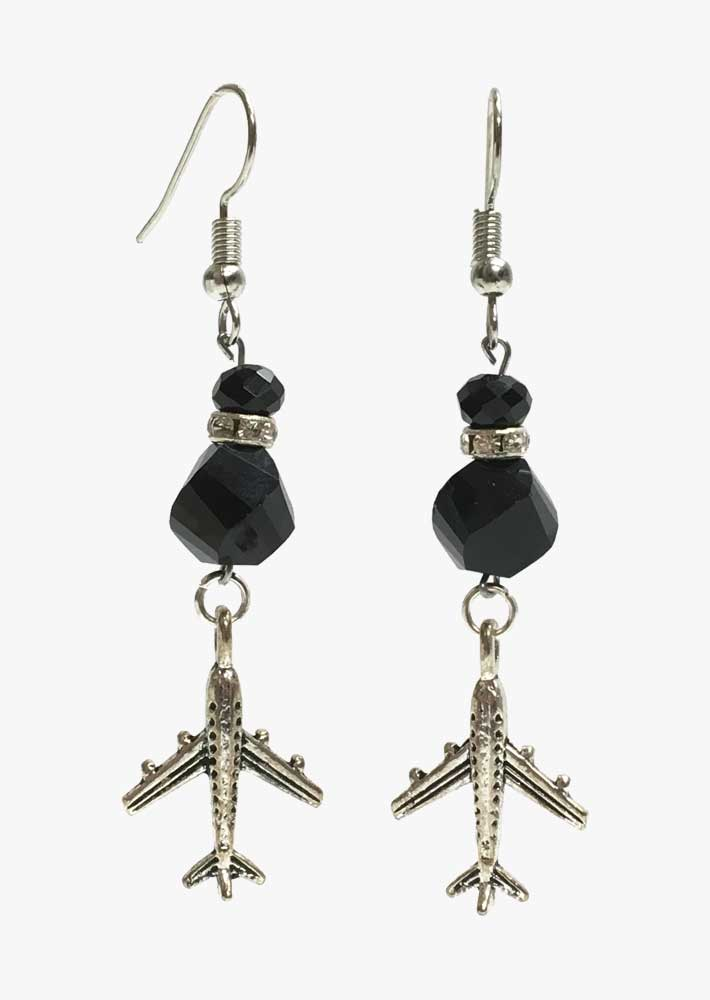 Crystal Spacer Airplane Earrings