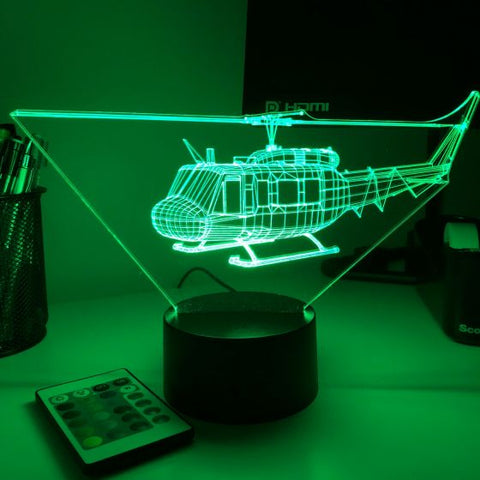 UH-1 Huey 3D Aircraft Color Changing Lamp