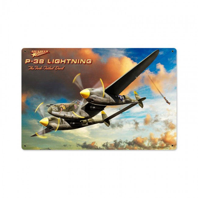 P-38 Lightning Tin Sign