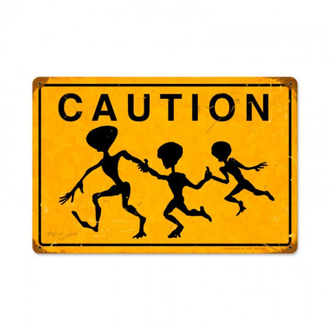 Alien Crossing Tin Sign