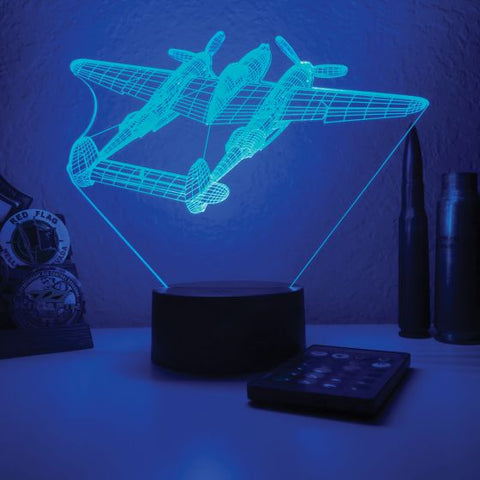 P-38 Lightning 3D Aircraft Color Changing Lamp
