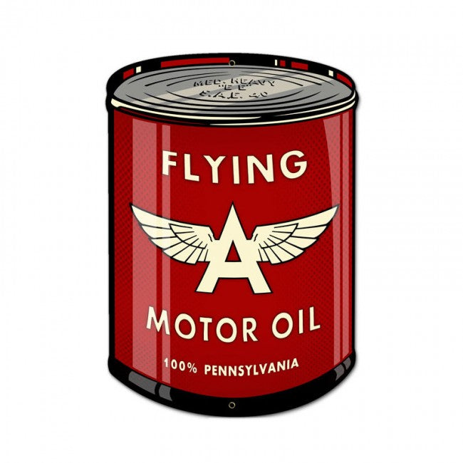 Flying A Oil Can Tin Sign