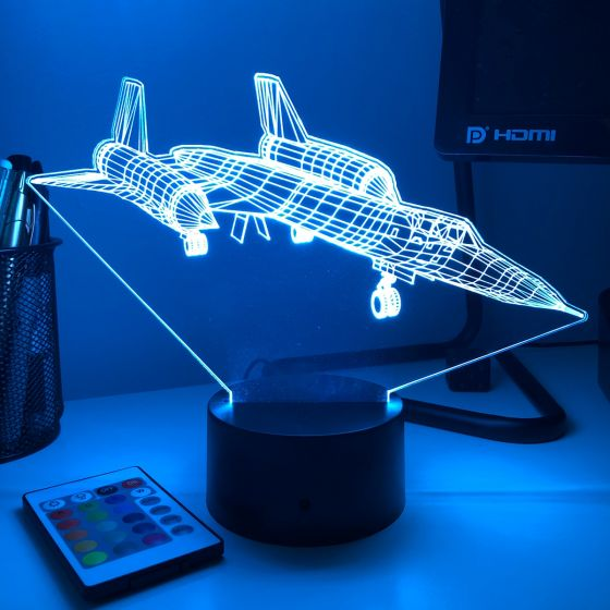 SR-71 Blackbird 3D Aircraft Color Changing Lamp