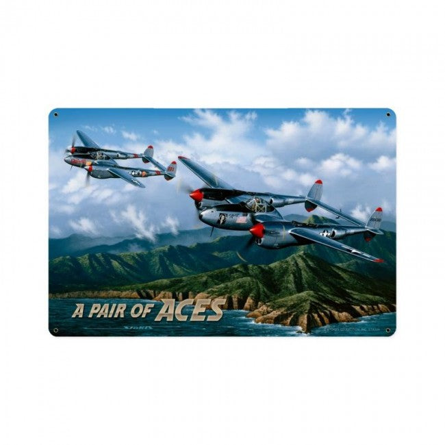 P-38 Pair Of Aces Tin Sign