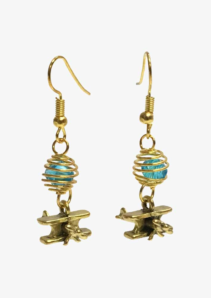 Spiral Cage Airplane Earrings