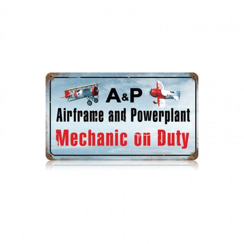 A & P Mechanic Tin Sign