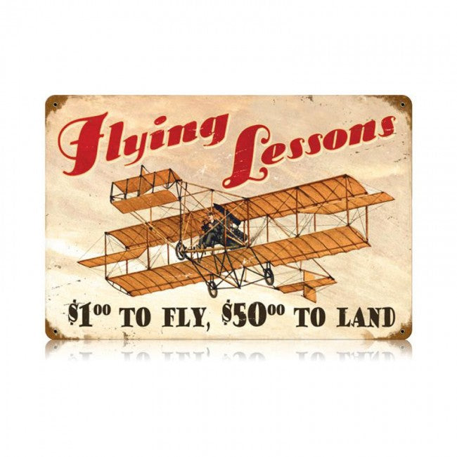 Flying Lessons Tin Sign