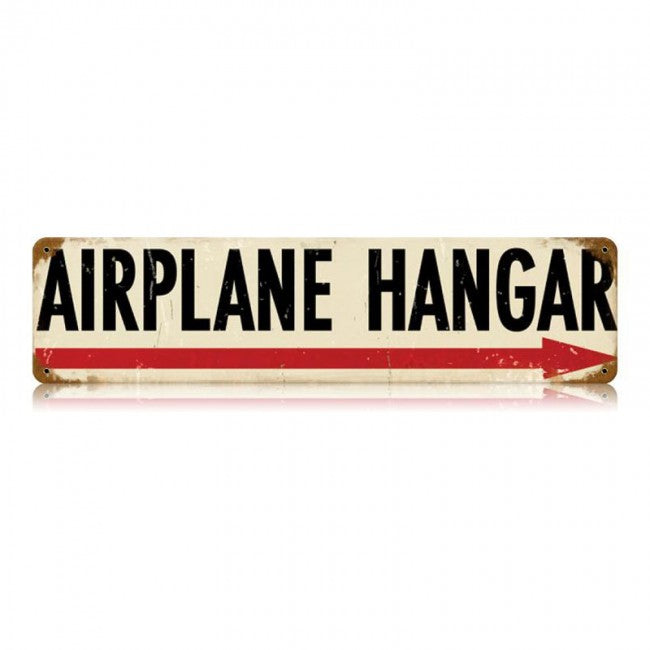 Airplane Hangar Arrow Tin Sign
