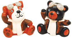 Dog & Bear Aviator Salt & Pepper Shakers