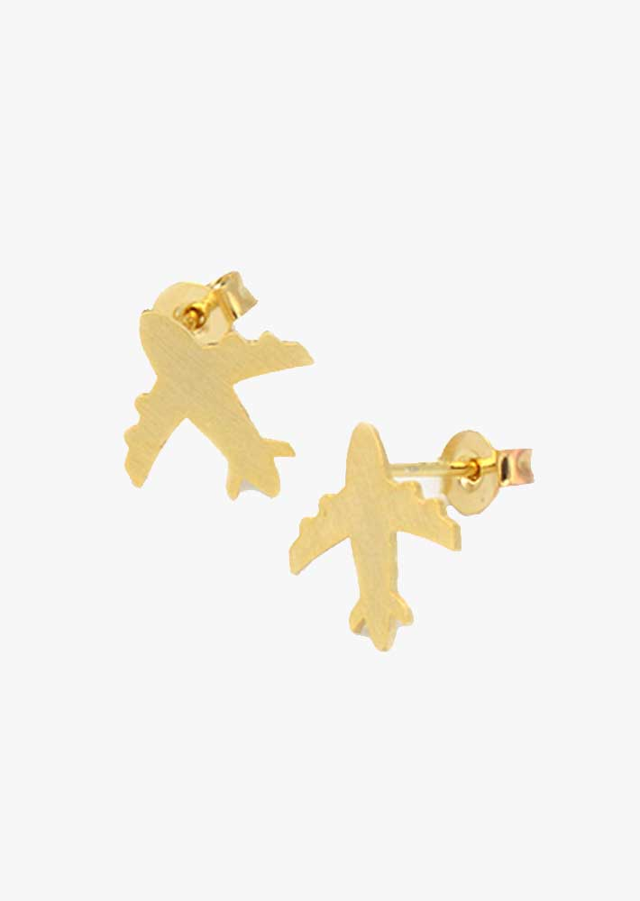 Gold Brushed Airplane Earrings