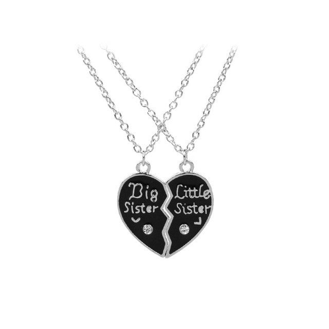 Connected sister pendant necklace set broken heart shaped glazaccess connected sister pendant necklace set broken heart shaped mozeypictures Image collections