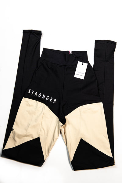 Highly Sustainable STRONGER leggings DUO Color Muscle Control NUDE/Black