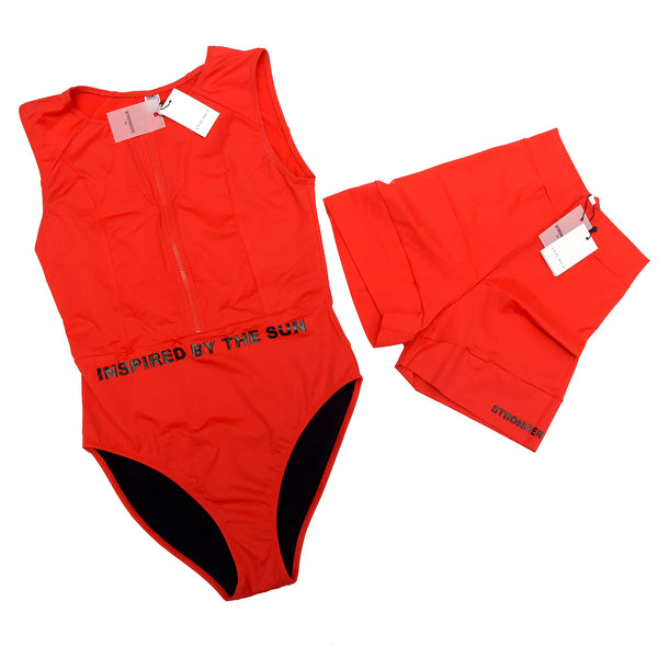 Matira Red One Piece Active Swim with free Leggings SET