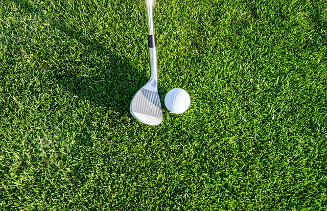Golf ball and club pictured on golf course grass