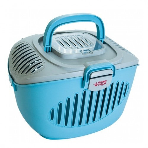LIVING WORLD PAWS2GO Small Pets Carrier (Grey-Blue / 36x28x25cm)