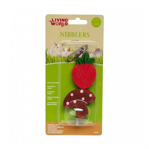 LIVING WORLD Nibblers Wood Chews (Strawberry & Mushroom)