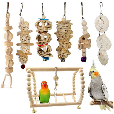 FIDS-PLAY TOY SET (7 Pc Set / Wood & Natural)