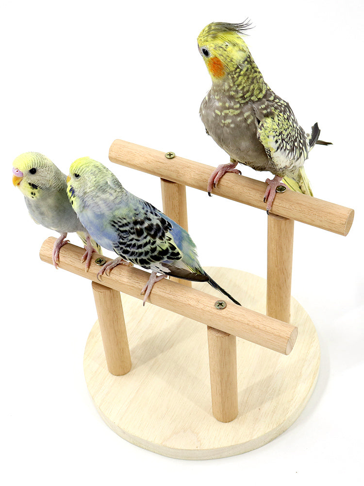 FIDS-PLAY PERCH STAND Double Tee (Wood)
