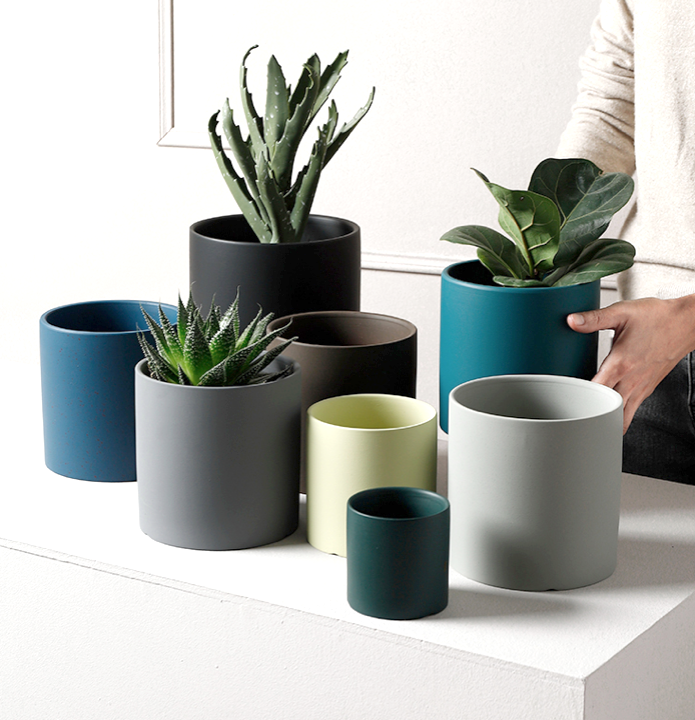 TERRA POTS CERAMIC - Nordic Color Cylinder Pot