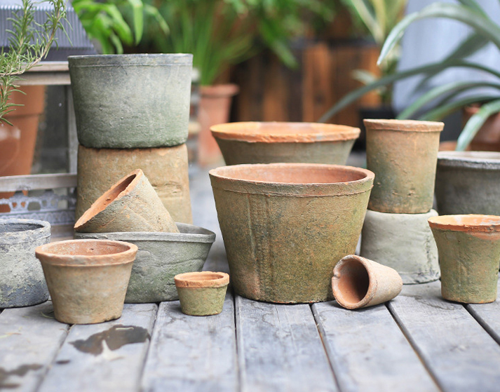 TERRA POTS CERAMIC - Cottage Style RETRO TAPER Pot