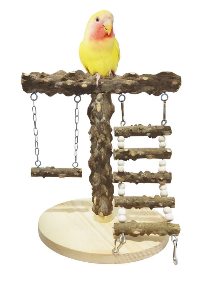 FIDS-PLAY PERCH STAND Tee (Pepper Wood w Ladder / Swing)
