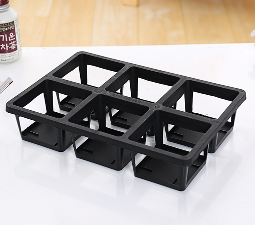 GCS Square Pot TRAY (L / Black / FOR 6 POTS)