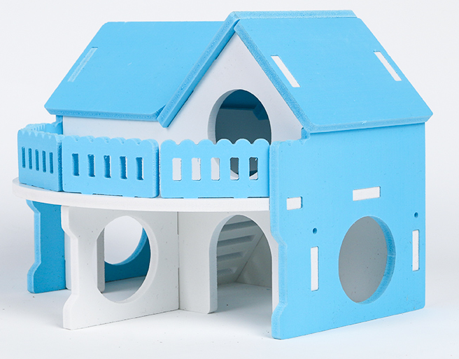 GCPETS Hamster Play House (Banglow L2 Fence / Blue / 17x15x14cm)