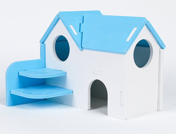 GCPETS Hamster Play House (House w Big Steps / Blue / 18.5x14.5x14cm)