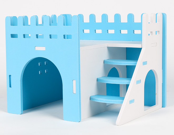 GCPETS Hamster Play House (Banglow Penthouse / Blue / 20x15x15cm)