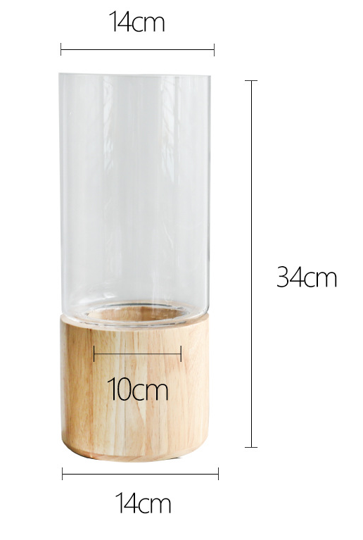 TERRA POTS Glass Jar w Rubberwood Base (14 x 34cm)