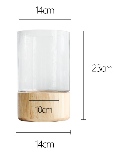 TERRA POTS Glass Jar w Rubberwood Base (14 x 23cm)
