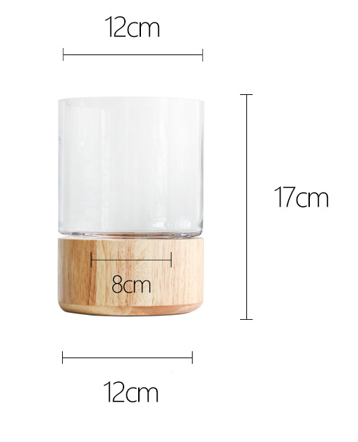 TERRA POTS Glass Jar w Rubberwood Base (12 x 17cm)
