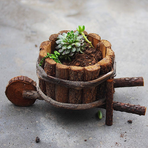 TERRA POTS Old Wooden Cart (Round)
