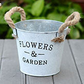 TERRA POTS Old Metal Bucket (White M)